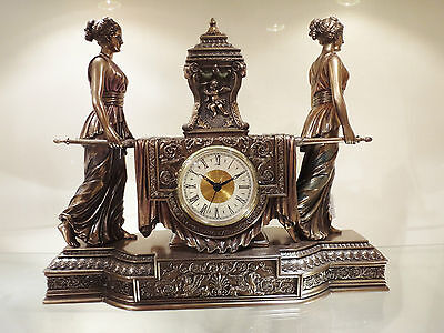 Antique Style Bronze Color - Antique style Royal BRONZE color Mantel Clock Female lady carrying Urn New $350