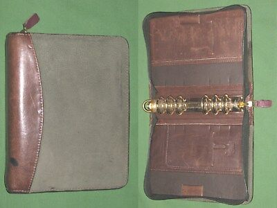 Compact 1.25 Green Suede Brown Leather Franklin Covey Quest Planner Binder