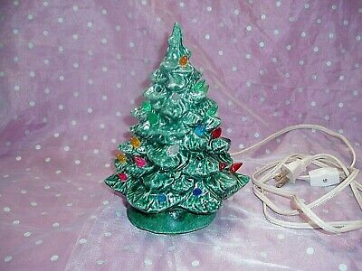 """VTG, """"LIGHT~UP CERAMIC 8"""" GREEN CHRISTMAS TREE"""", Tested and Works!!!"""
