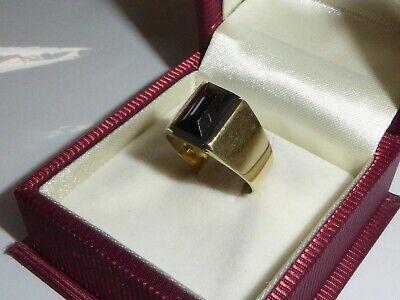585 Onyx Ring Onyxring Schwarz Gelbgold 14K Gold Goldring RG 52 - 16,5 mm 1086