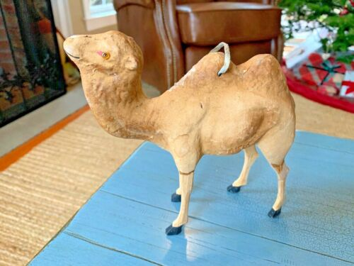 Huge Putz Camel Ornament Glass Eyes Stick Leg Composition Germany German Toy