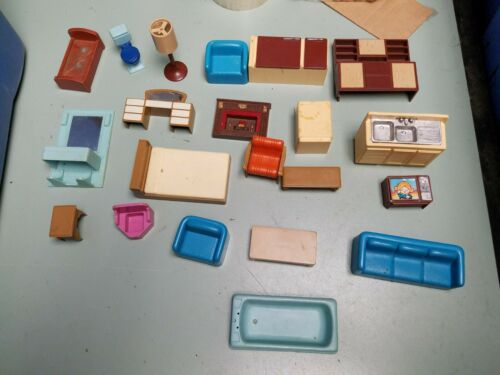 Assorted Lot of Vintage Plastic Miniature Dollhouse Furniture Some Arco Brand