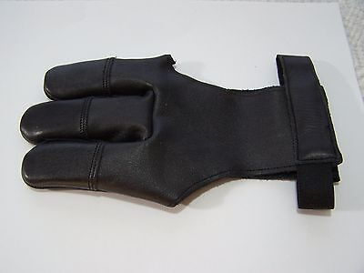 "Trad. Leather Archery 3 finger-Damascus Glove-BLK-$8.88 Delivered- Mens""Medium"""