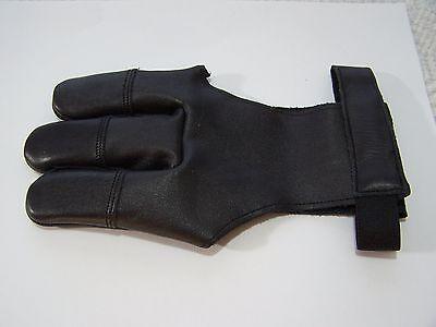 Medium Leather Glove - Trad. Leather Archery 3 finger-Damascus Glove-BLK-$8.88 Delivered- Mens