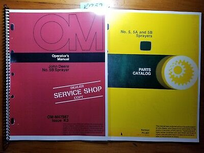 John Deere 5b Sprayer Sn -80000 Owner Operator Manual Om-m47987 K3 1173 Parts