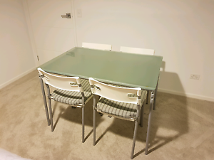 Glass dining table and 4 chairs Appin Wollondilly Area Preview