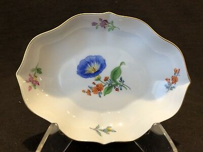 Meissen Morning Glory Trinket Dish Gold 1st Quality Crossed Swords Circa 1934