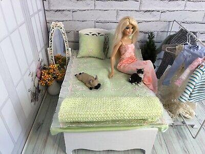 Furniture for dolls. Bed and bedding set for dolls 1: 6 Barbie, MX, Blythe, BZD