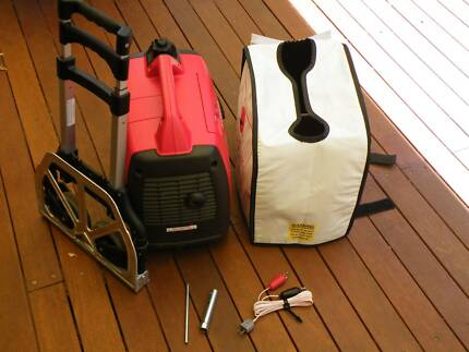 Honda EU20i Generator with cover, trolley, battery leads