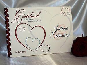Ihr Gästebuch zur Hochzeit № 065 - bordeaux/rot - personalisiert & handgefertigt