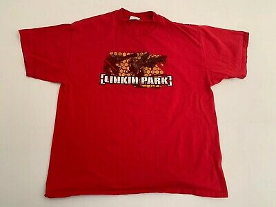 Vtg RARE Linkin Park 2001 Hybrid Theory Tour T Shirt Red Men's XL EUC
