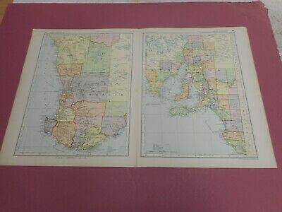 100% ORIGINAL LARGE WEST AND SOUTH AUSTRALIA MAP  BY G  BACON C1912 VGC