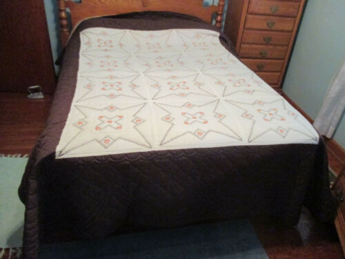 "Vintage Brown & Orange Embroidered Quilt Hand Stitched & Quilted 84"" x 102"""