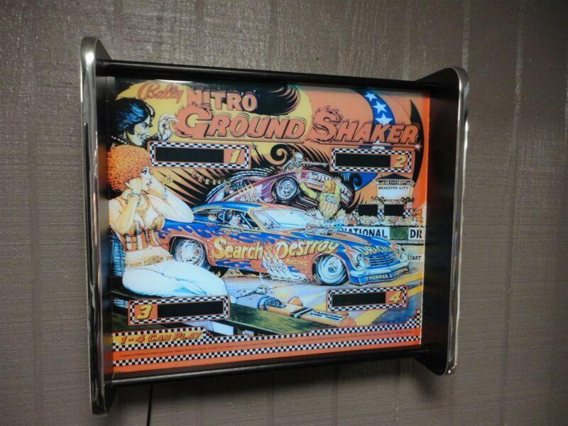 Bally Nitro Ground Shaker Pinball Head LED Display light box