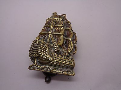 VINTAGE H M S VICTORY BRASS DOOR KNOCKER IN FULL SAIL