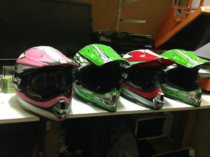 4 MOTO X HELMETS 2 KIDS WITH GOGGLES & 2 ADULTS Burswood Victoria Park Area Preview