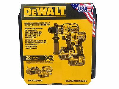 New Dewalt 20V 5.0Ah DCK299P2 Cordless Brushless Combo 2-Tool Kit DCD996 DCF887