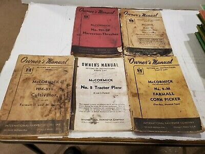 Lot 5 Vintage 1950s Mccormick - Ih - Owners Manual Cultivator -corn Tractor