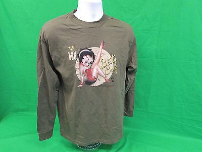 Betty Boop Bomber adult Long sleeve T-shirt Green  Size Small or Medium Bomber Long Sleeve T-shirt