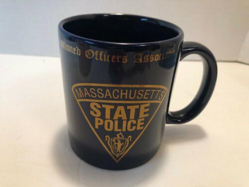Massachusetts State Police Mug Dark Blue Gold Lettering