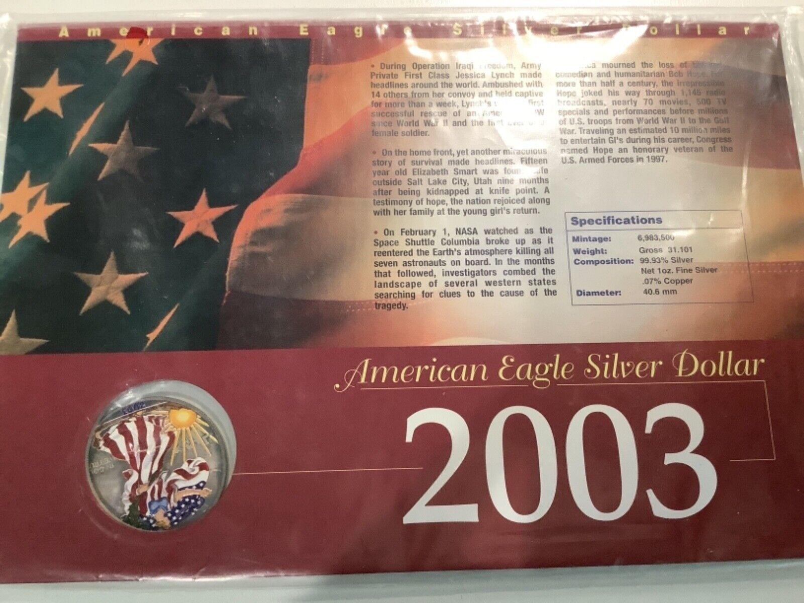 2003 1 American Silver Eagle Dollar, COLORIZED A19.10 - $34.95