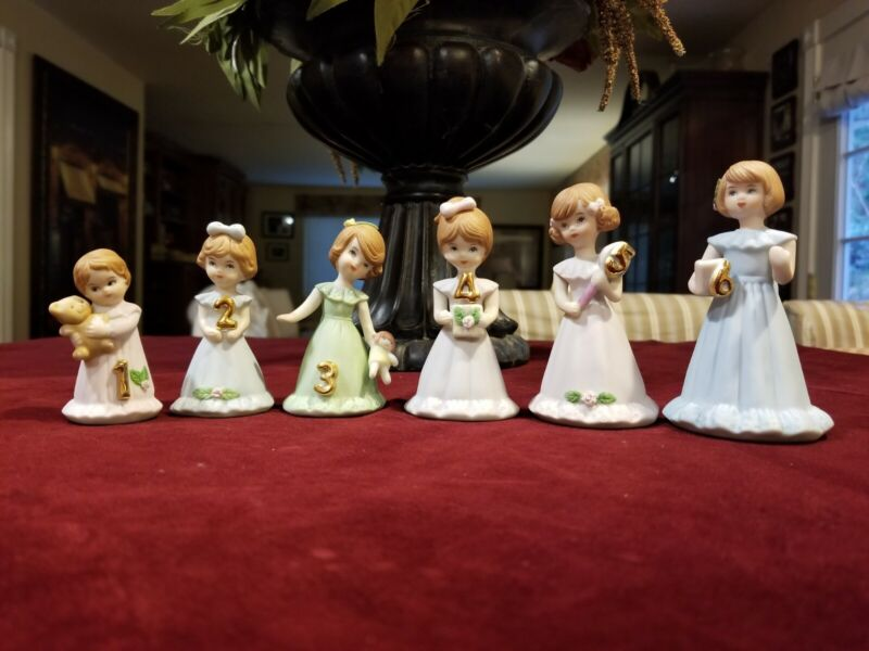 Lot of 6 Vintage 1982 Enesco Growing Up Birthday Girls Figurines Ages 1 to 6