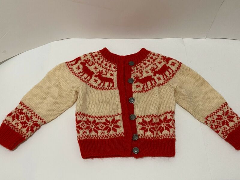 Vintage BERGENSKOFTER Hand Knit Baby cardigan sweater 100% Wool Made In Norway