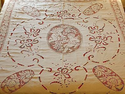 ANTIQUE Linen FILET LACE Cherubs Floral Bedspread Coverlet Cutwork Fringed