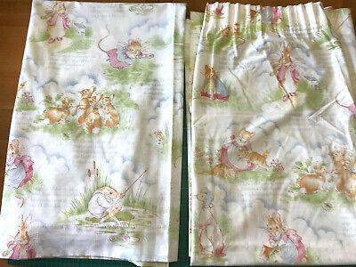 """Pair of Vintage Horrocks Beatrix Potter Peter Rabbit & Friends Curtains 51"""" Drop"""