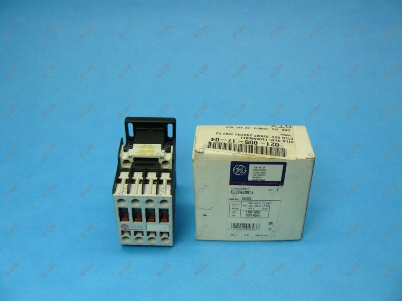 GE CL02AB00TJ IEC Contactor 4 Pole 2 NO/2 NC 32A AC1/18A AC3 120VAC Coil New