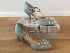 8afb3c300774 Rachel Simpson Mimosa Sage Mint Green Leather Wedding Shoes Size 39 ...
