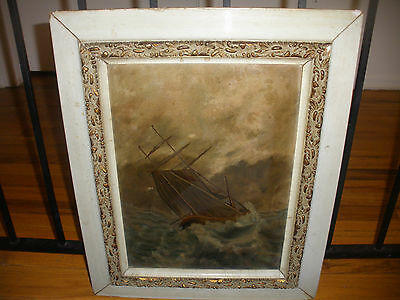 GREAT ANTIQUE 19THC OIL PAINTING BOAT SHIP STORMY SEASCAPE SCENE PAINTING