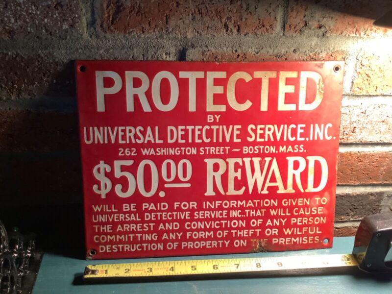 Original Porcelain Universal Detective Service sign.