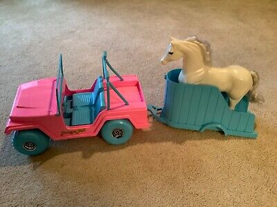 Vintage Fashion Girl Jeep w/Horse Trailer & Horse/Pink & Blue/Fits Barbie Doll
