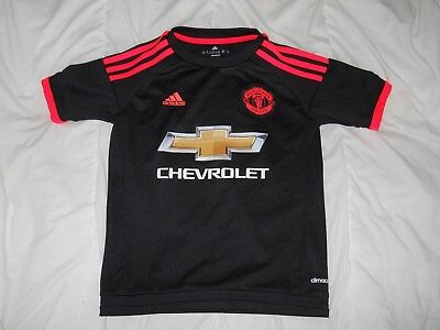 MANCHESTER UNITED ADIDAS 2015-16 BLACK THIRD YOUTH FOOTBALL SHIRT SIZE SMALL image