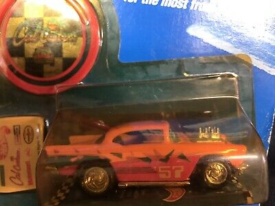Hot Wheels 1989 California Customs '57 CHEVY Pink & Orange 1297 New Yellow Tint