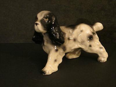 Dog Figurine Japan Vintage Spaniel English Spaniel Black & White Cute Puppy!!!