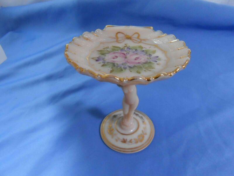"""Vintage Cambridge Crown Tuscan Nude 5 1/2"""" Decorated Card Compote"""