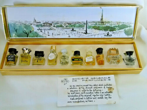 Vintage collection of fine French Paris perfumes bottles in orig. box!