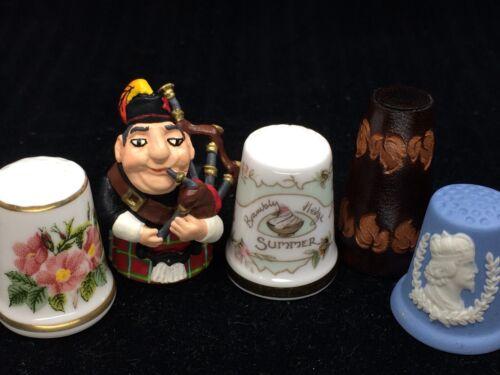 THIMBLES Lot of 5 Royal Doulton Wedgwood Leather Scottish Piper Rosa Carolina