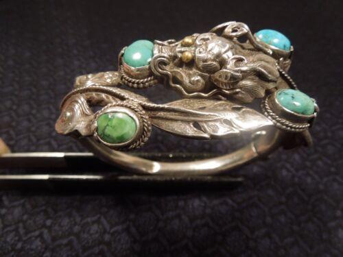Vintage Sterling Silver Turquoise Chinese Export Dragon Bangle Bracelet