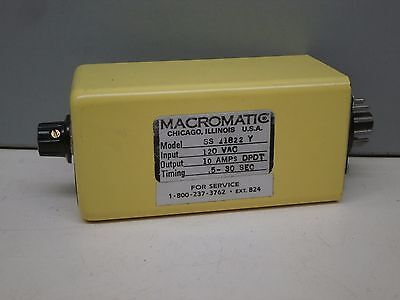Macromatic SS-11822-Y Solid State Time Delay Relay 120VAC 10A DPDT .5-30Sec