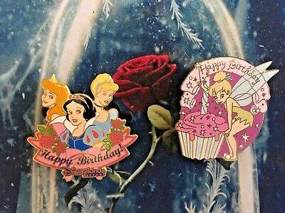 DISNEY - LOT OF 2 HAPPY BIRTHDAY PINS - TINKER BELL - CUPCAKE - 3 PRINCESSES  (Disney Cupcakes)