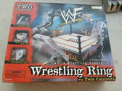 "14"" WWF Attitude Wrestling Ring 1Catapult Cage Ropes 1998 JAKKS Pacific 1 FIGURE"