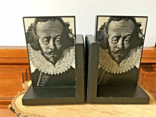 """SHAKESPEARE BOOKENDS 6-3/4""""x4-3/4"""" NEAT ETCHED DESIGN! A CLASSIC! GREAT SHAPE!"""