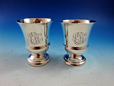 Pair Of Sterling Silver Toothpick Holders W/ Elegant Monogram 6072  - $179.00