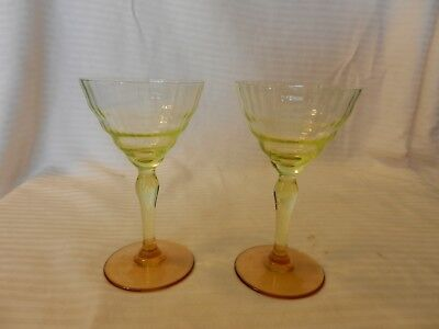 Small Martini Glasses (Pair of Small Green with Brown Stem Martini Glasses 5.25