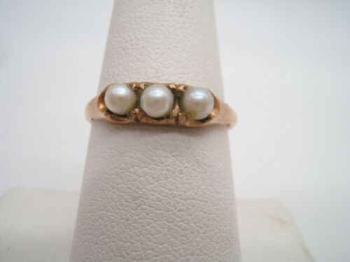 GOLD FILLED RING ANTIQUE WITH 3 PEARLS