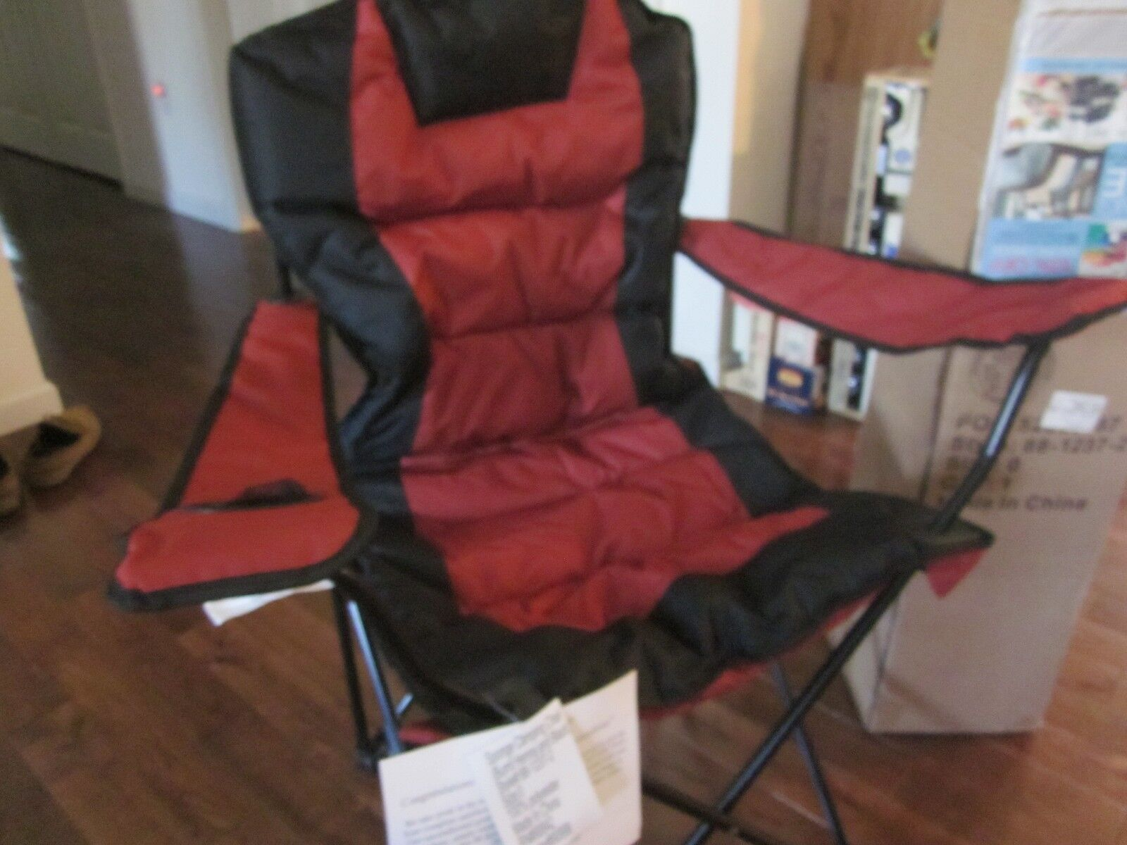 BRYLANEHOME Sponge Camping Chair Folding Chair Dark red blac