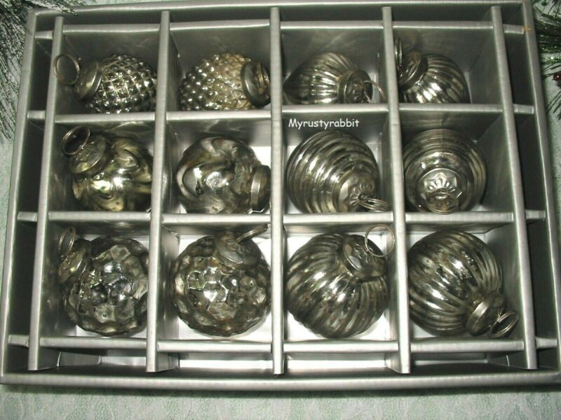 """Silver Mercury Glass Kugel Style Christmas Ornaments 2"""" - Set of 12 Assorted"""